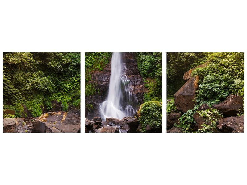 Panoramic 3 Piece Acrylic Print Waterfall Bali