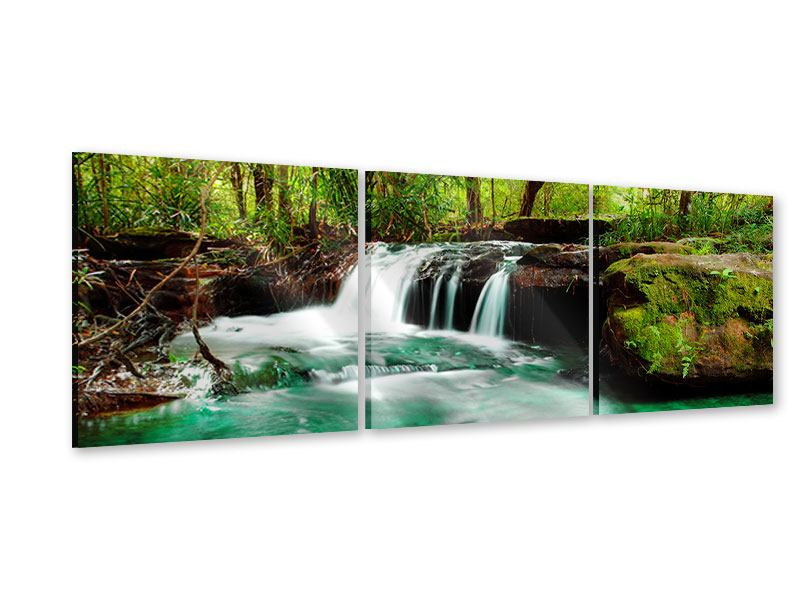 Panoramic 3 Piece Acrylic Print The River At Waterfall