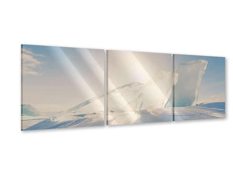 Panoramic 3 Piece Acrylic Print Ice Landscape