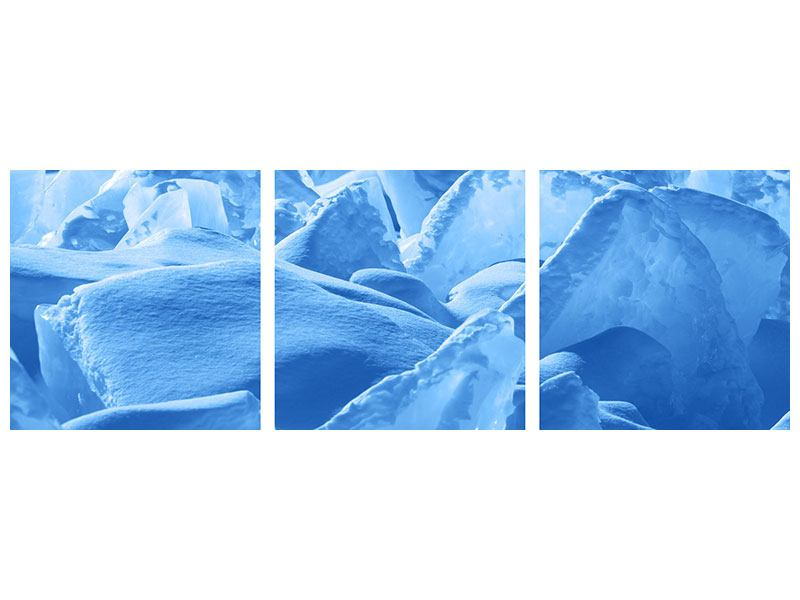 Panoramic 3 Piece Acrylic Print Ice Of Lake Baikal
