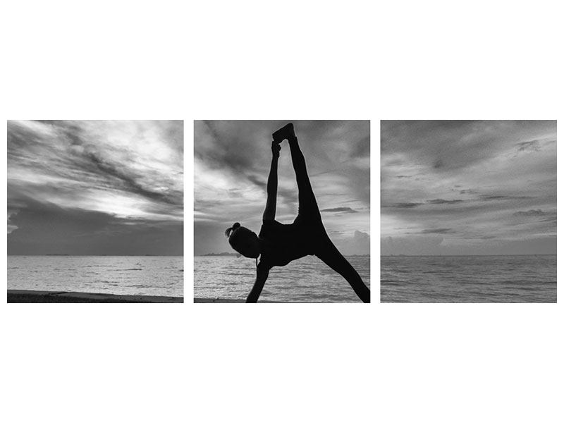 Panoramic 3 Piece Acrylic Print Yoga On The Beach