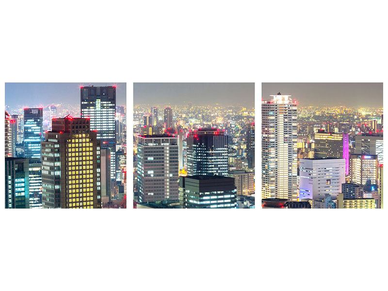Panoramic 3 Piece Acrylic Print Skyline Osaka In Sea Of Lights
