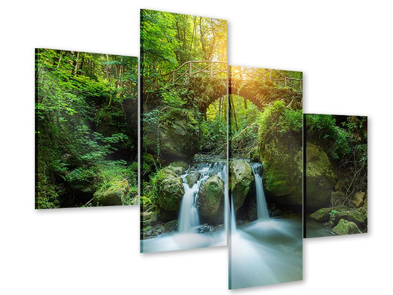 Modern 4 Piece Acrylic Print Water Reflection