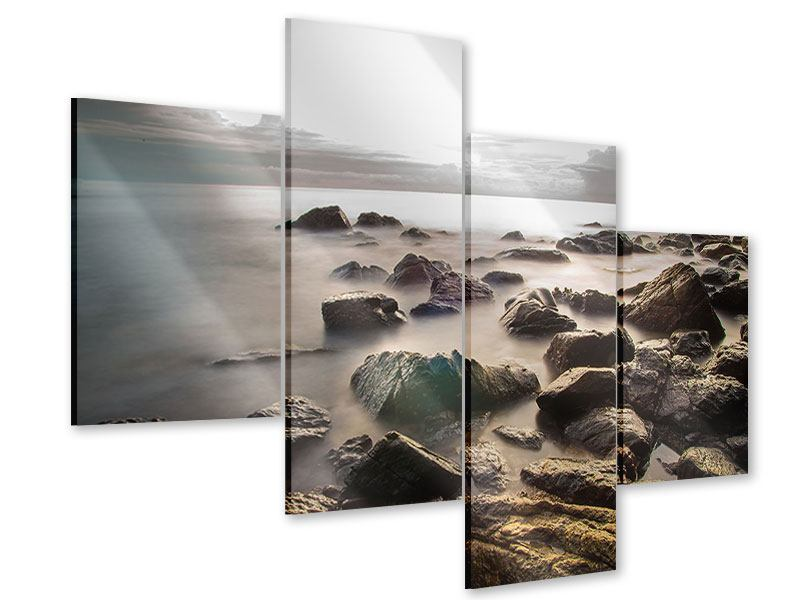 Modern 4 Piece Acrylic Print Stones On The Beach