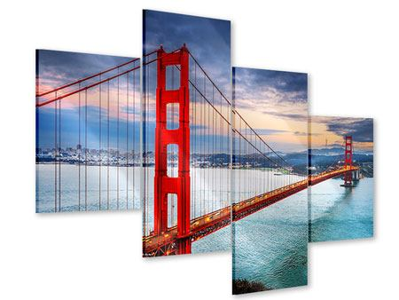 Modern 4 Piece Acrylic Print The Golden Gate Bridge At Sunset