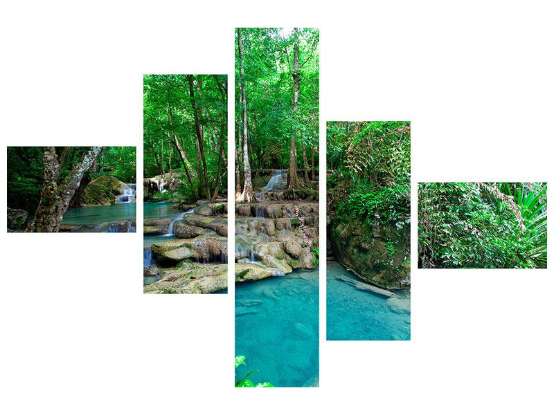 Modern 5 Piece Acrylic Print At The Foot Of Erawan