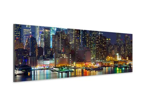 Aluminiumbild Panorama Skyline New York Midtown bei Nacht