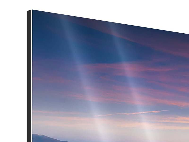 Panoramic 3 Piece Aluminium Print Sunset In The Alps
