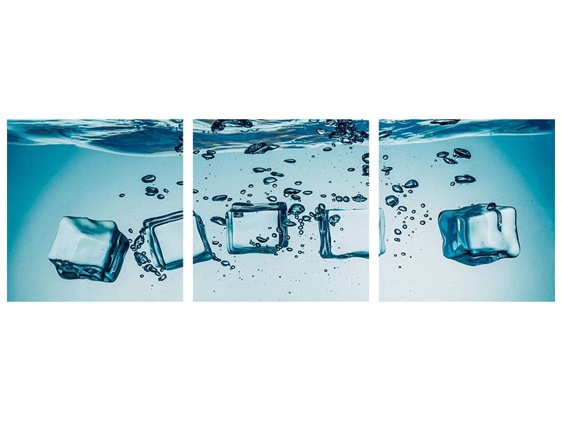Panoramic 3 Piece Aluminium Print Ice Quadro