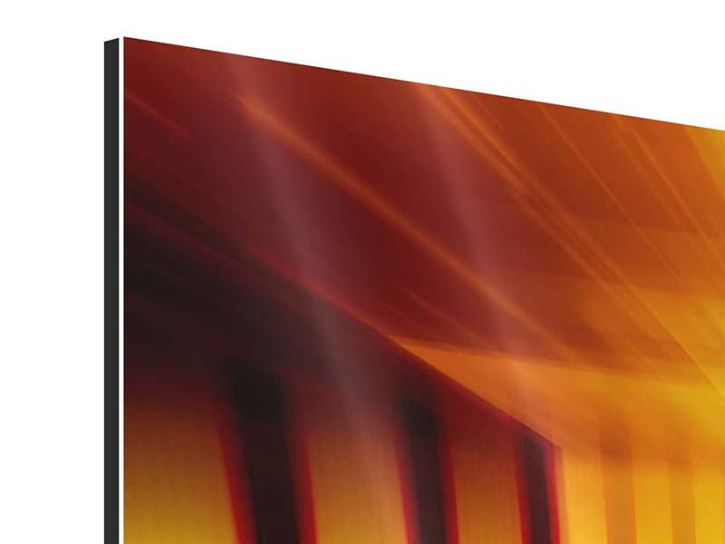 Panoramic 3 Piece Aluminium Print Abstract Golden Room
