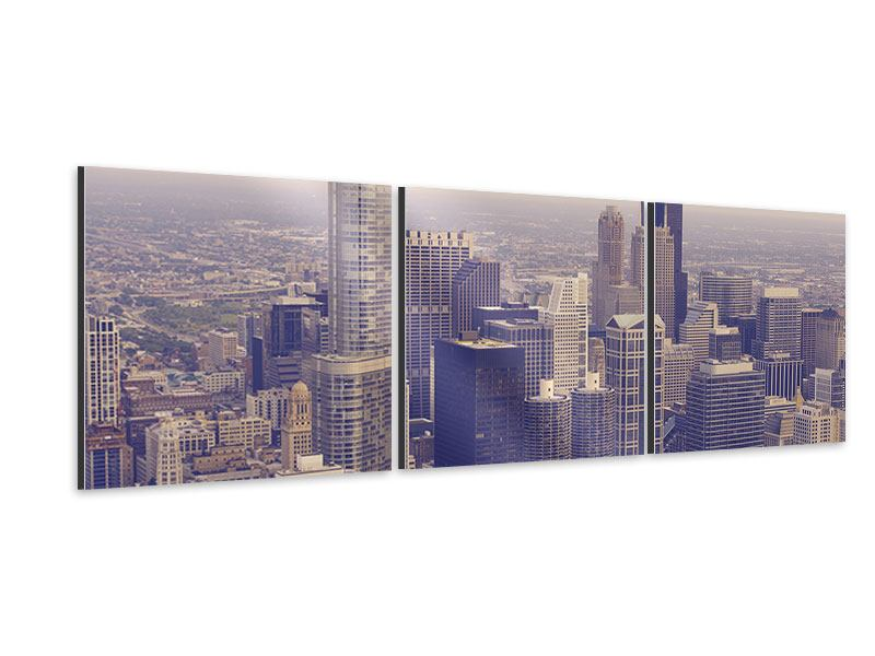 Tableau Aluminium en 3 parties Panoramique Ligne d'horizon à Chicago en sépia