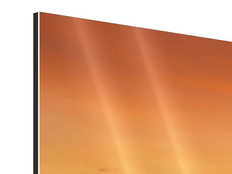 Panoramic 3 Piece Aluminium Print Lake With Sunset