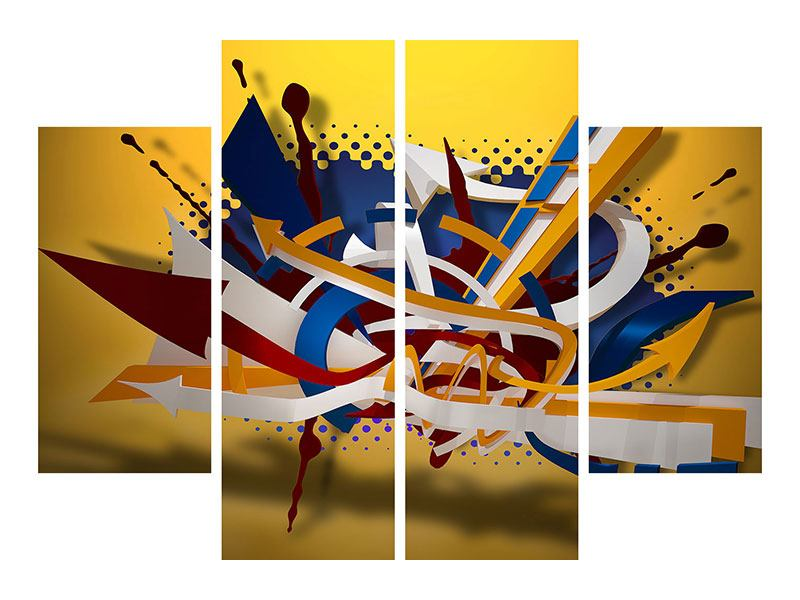 4 Piece Aluminium Print Graffiti Art