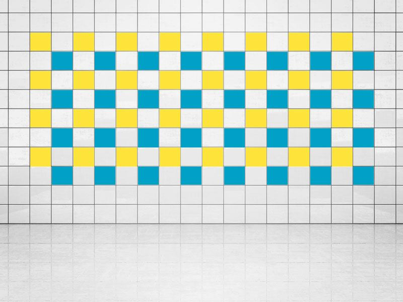 Tile Decor Sky Blue (A784) and Primerose Yellow (A707) Set of 20