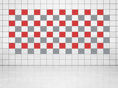 Tile Decor Silver Metallic (A835) and Bright Red (A737) Set of 20