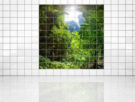 Tile Print Clearing In The Jungle