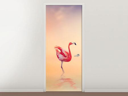 Door Mural Romantic Flamingos