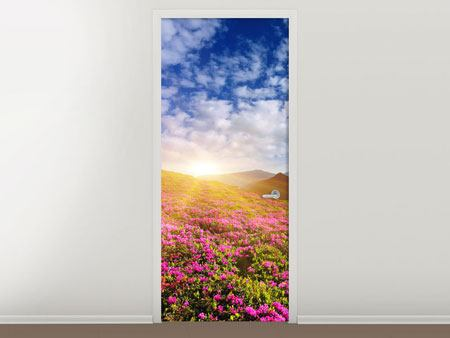 Door Mural Flowery Mountain Landscape