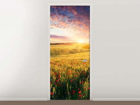 Door Mural A Flower Field At Sunrise
