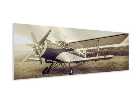 Panoramic Forex Print Nostalgic Aircraft In Retro Style