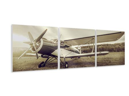 Panoramic 3 Piece Forex Print Nostalgic Aircraft In Retro Style