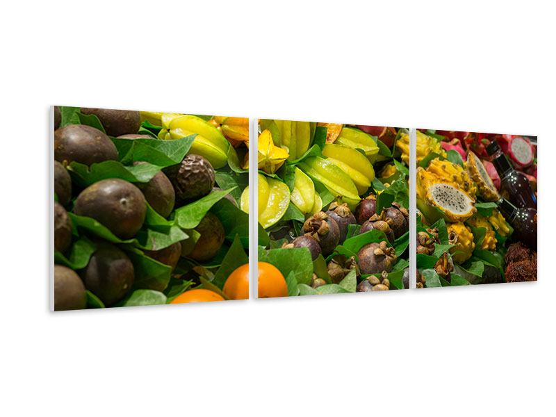Panoramic 3 Piece Forex Print Fruits