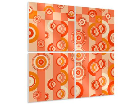 4 Piece Forex Print Moving Retro Circles