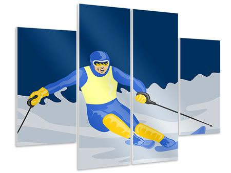 4 Piece Forex Print Skier In Retro Style