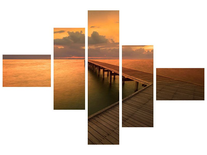 Modern 5 Piece Forex Print The Footbridge  By The Sea