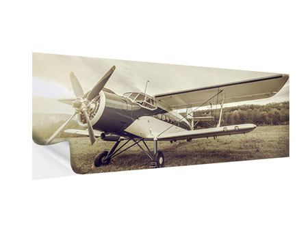 Panoramic Self-Adhesive Poster Nostalgic Aircraft In Retro Style