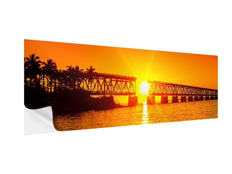 Panoramic Self-Adhesive Poster Sunset On The Bridge