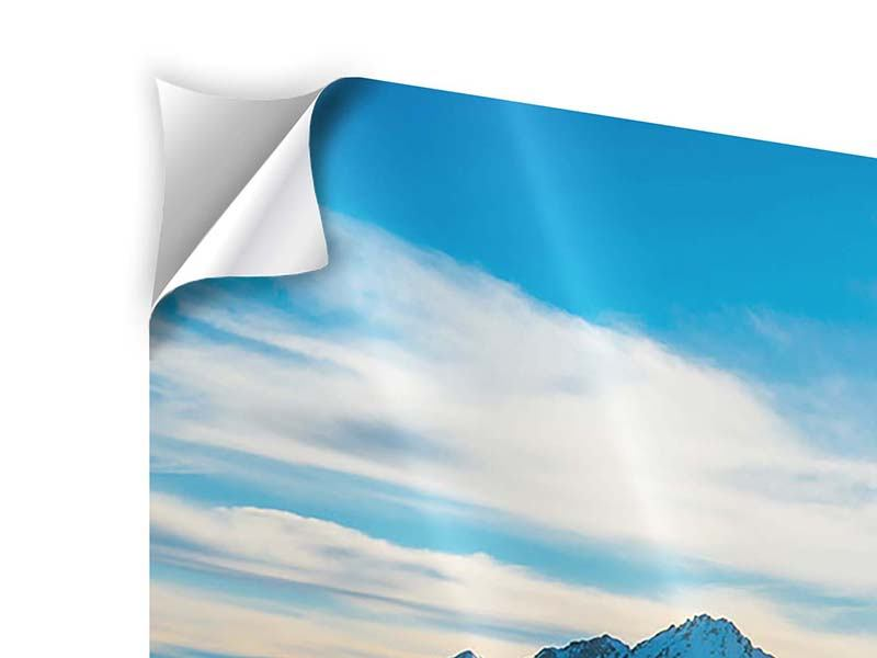 Panoramic 3 Piece Self-Adhesive Poster Winter's Tale In The Mountains