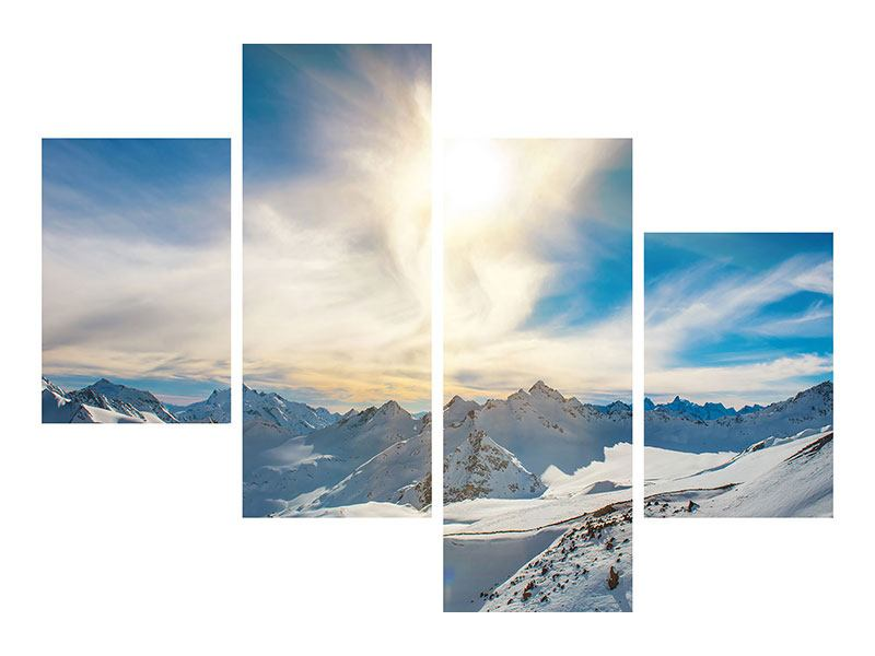 Modern 4 Piece Self-Adhesive Poster Over The Snowy Peaks