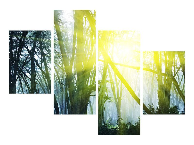 Modern 4 Piece Self-Adhesive Poster Sunbeams In The Forest