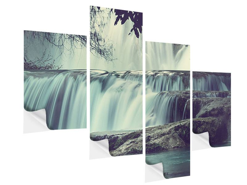 Modern 4 Piece Self-Adhesive Poster Waterfall Mexico