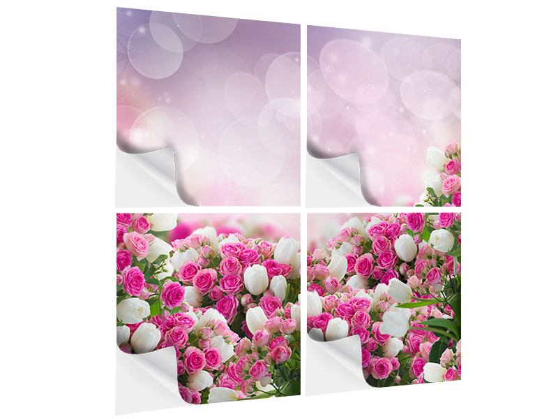 4 Piece Self-Adhesive Poster Fable Roses