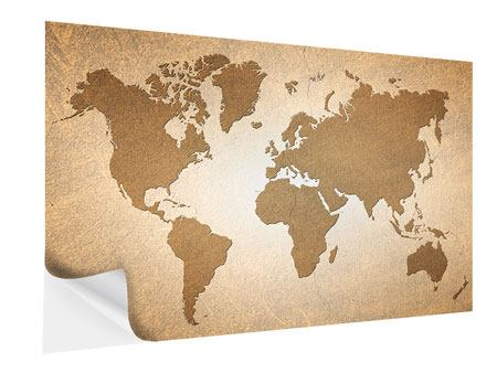 Self-Adhesive Poster Map Of The World In Vintage