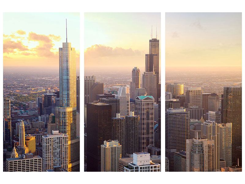 3 Piece Canvas Print Skyline Chicago