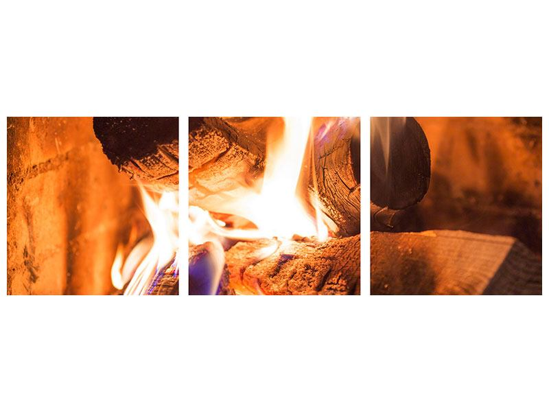 Panoramic 3 Piece Canvas Print Open Fire