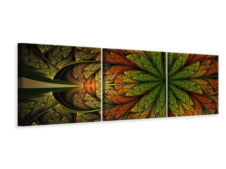Panoramic 3 Piece Canvas Print Abstract Floral Pattern