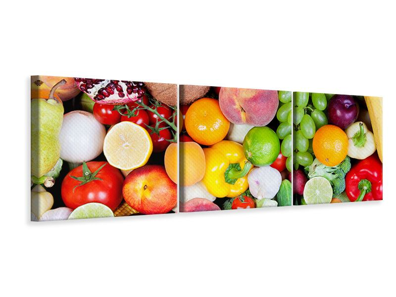 Panoramic 3 Piece Canvas Print Fresh Fruit