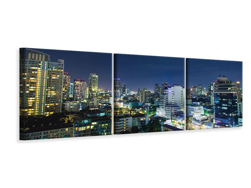 Panoramic 3 Piece Canvas Print Skyline Night In Bangkok