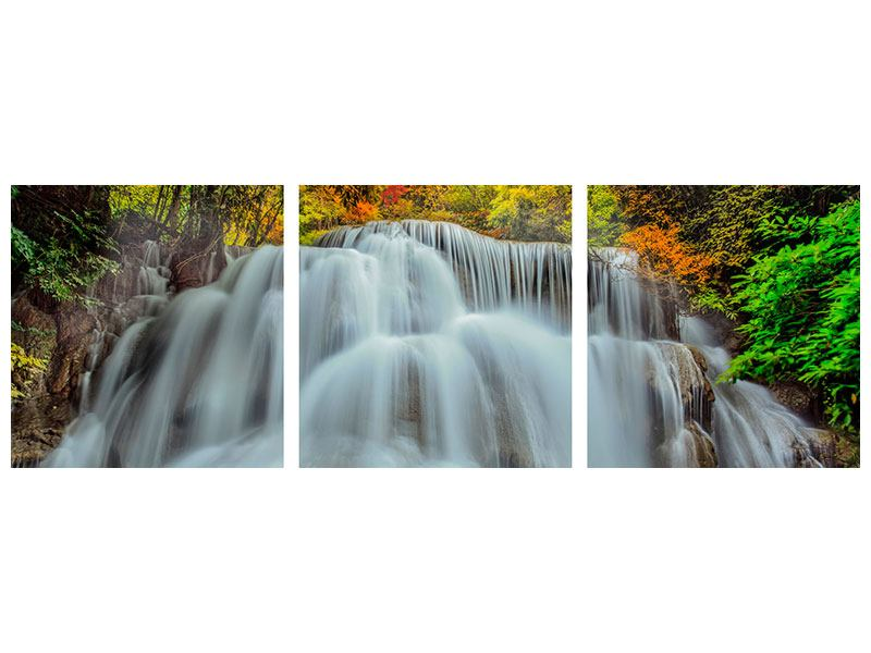 Panoramic 3 Piece Canvas Print Falling Water