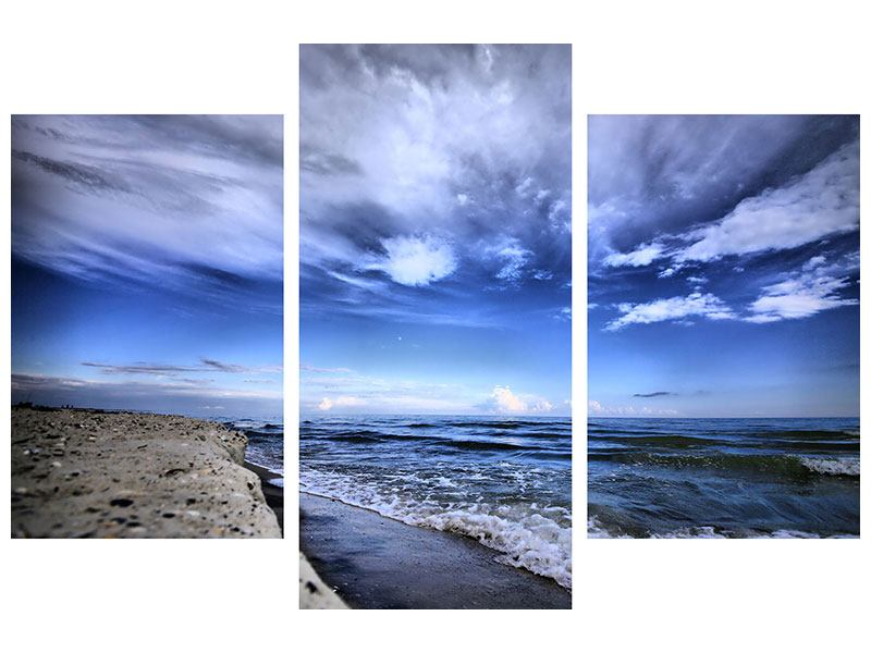 Modern 3 Piece Canvas Print Beach Waves