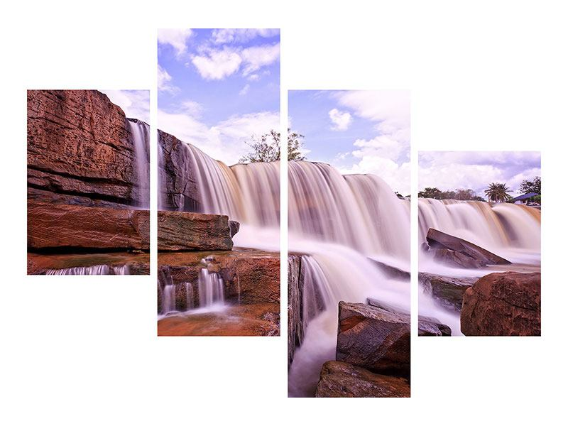 Modern 4 Piece Canvas Print Heavenly Waterfall