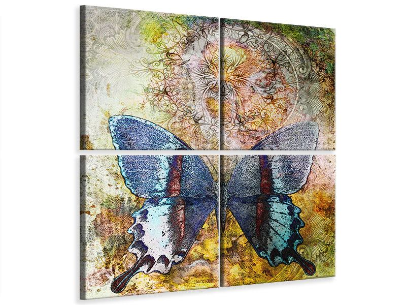 4 Piece Canvas Print Ornament Butterfly