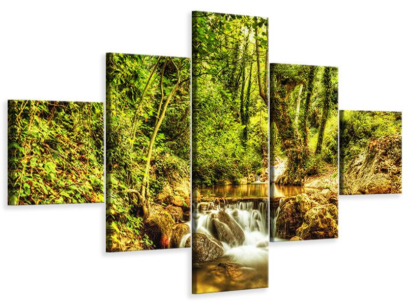 5 Piece Canvas Print Waterfall In The Forest