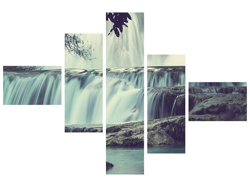 Modern 5 Piece Canvas Print Waterfall Mexico