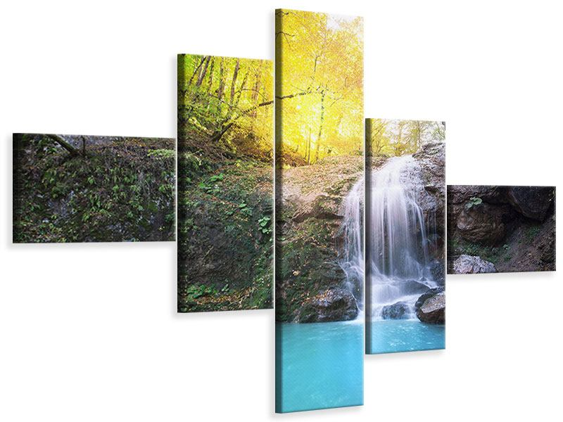 Modern 5 Piece Canvas Print Flowing Waterfall