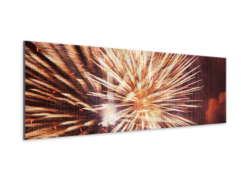 Metallic-Bild Panorama Close Up Feuerwerk